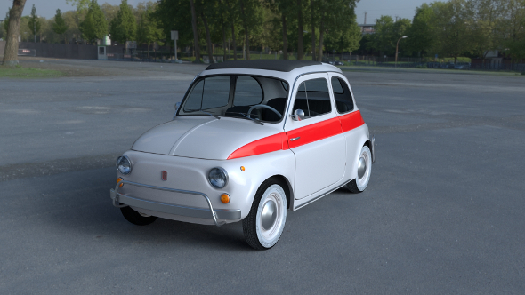 Fiat 500 Nuova Sport 1958 with interior HDRI 3D Model - 3DOcean Item for Sale