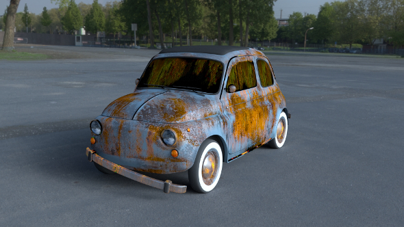 Fiat 500 Nuova 1957 rusty HDRI - 3DOcean Item for Sale