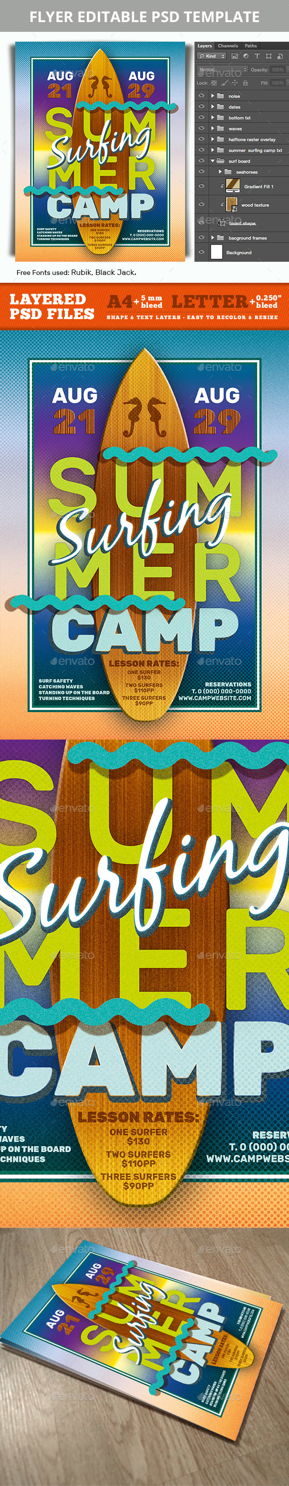 Summer Surfing Camp Editable PSD Flyer