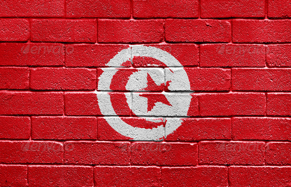 Flag of Tunisia on brick wall - Stock Photo - Images