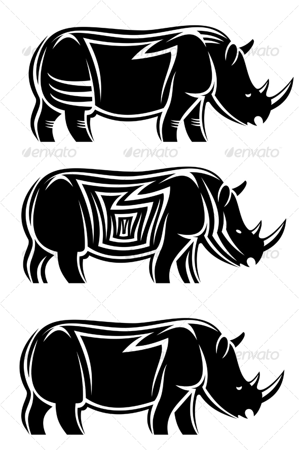 Graphic River Wild rhinoceros Vectors -  Characters  Animals 62524