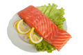 Salmon with lemon on salad leaves - PhotoDune Item for Sale