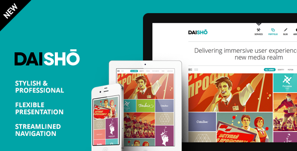 daisho preview 590 new.  large preview - Daisho - Flexible WordPress Portfolio Theme