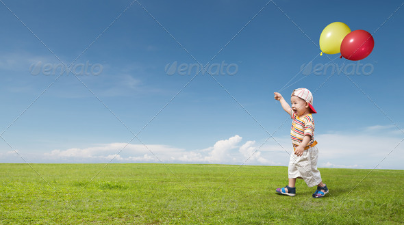 kid and balloon - Stock Photo - Images
