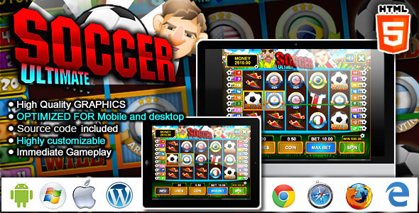Download Slot Machine Ultimate Soccer - HTML5 Casino Game nulled download