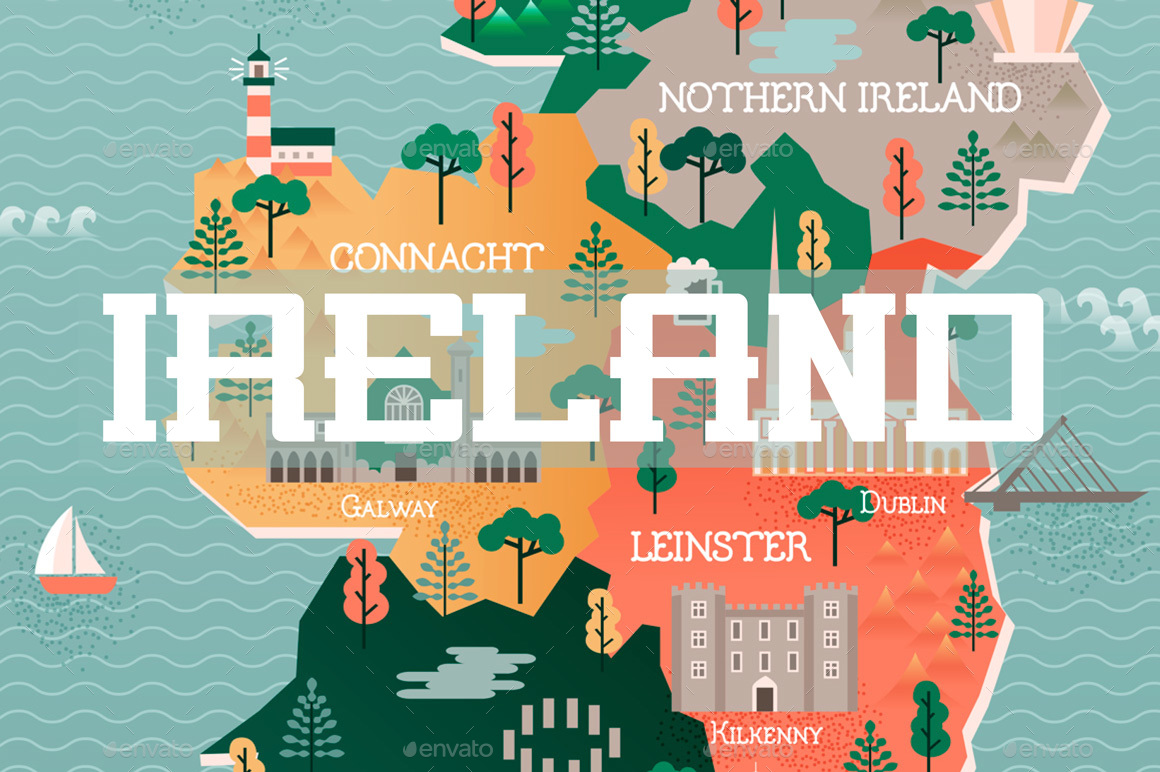 Travel Map of Ireland with Landmarks and Cities by VectorDream – Travel Map of Ireland