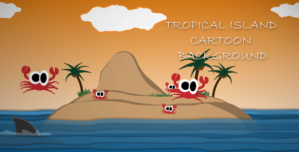 Tropical Island Cartoon Tausta - Taustat Motion Graphics