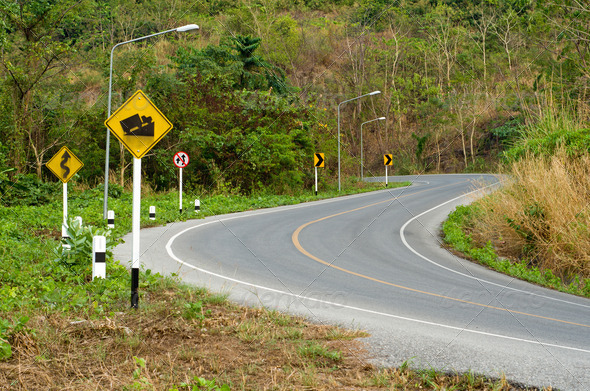 Country curves  road up the mountain - Stock Photo - Images