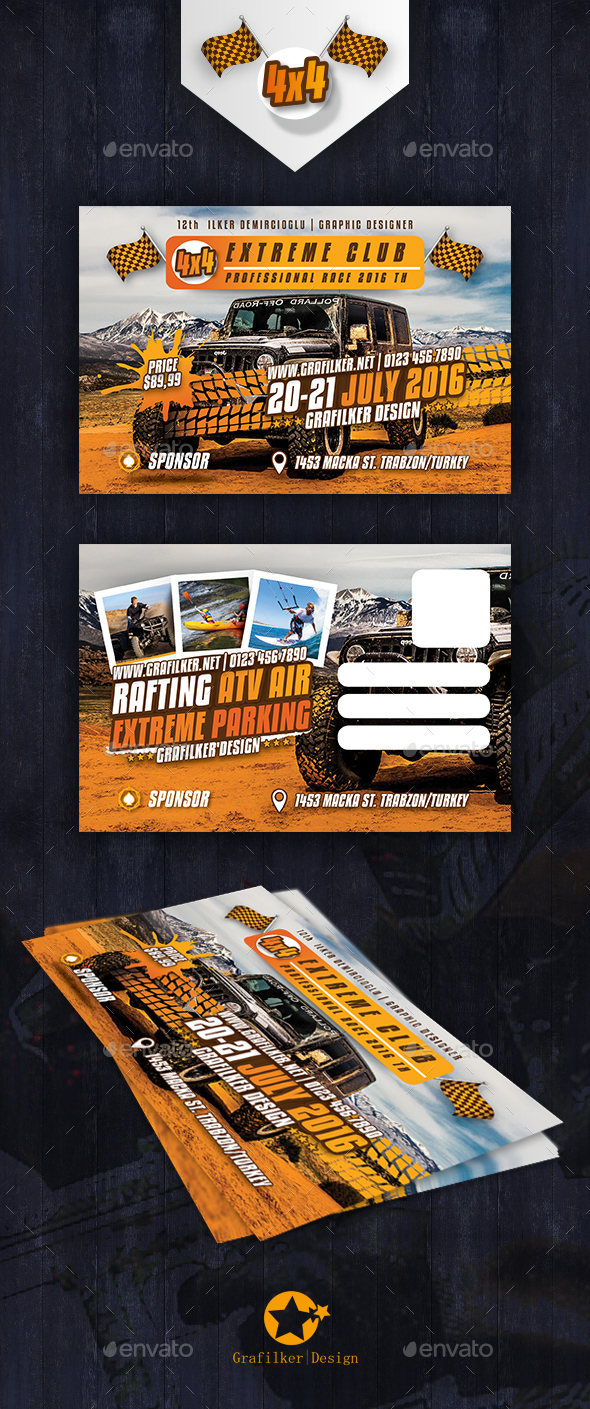 Extreme Sport Postcard Templates