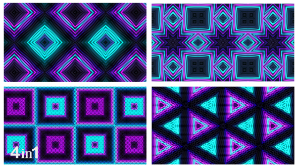 VideoHive Neon Lines Kaleidoscope 4-Pack 15965412