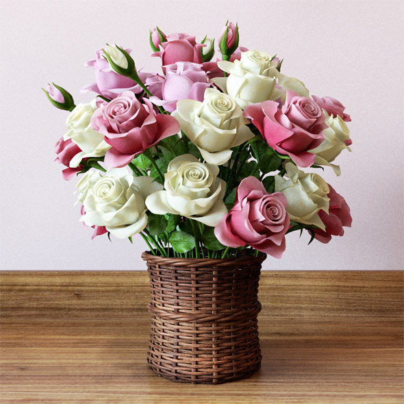 Basket with roses - 3DOcean Item for Sale