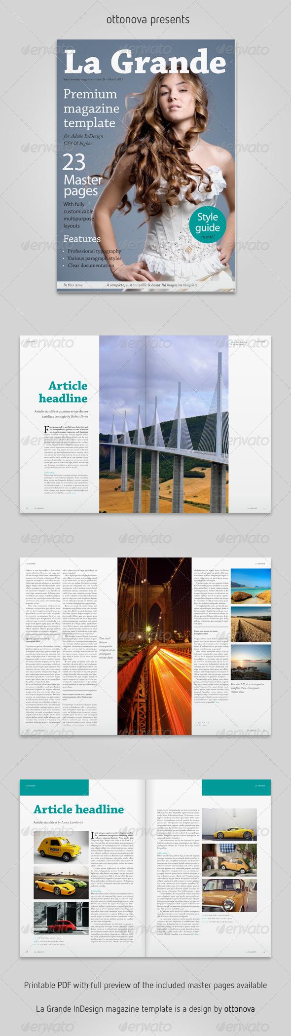 La Grande InDesign magazine template - Magazines Print Templates