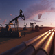 Silhouette Of Crude Oil Pump At Sunset In Oil Field - 9