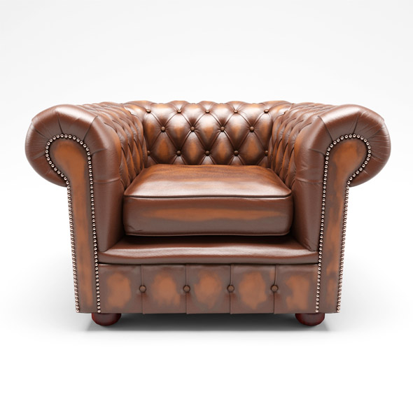 Chesterfield London Low Back Club ArmChair Antique Brown Leather - 3DOcean Item for Sale