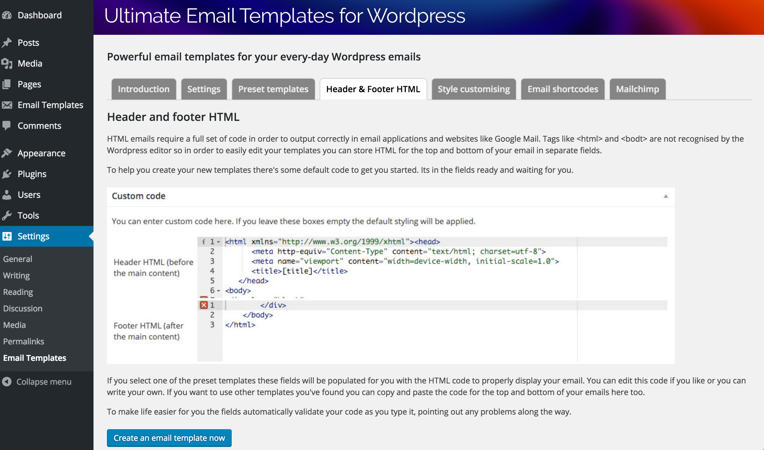 email template html code