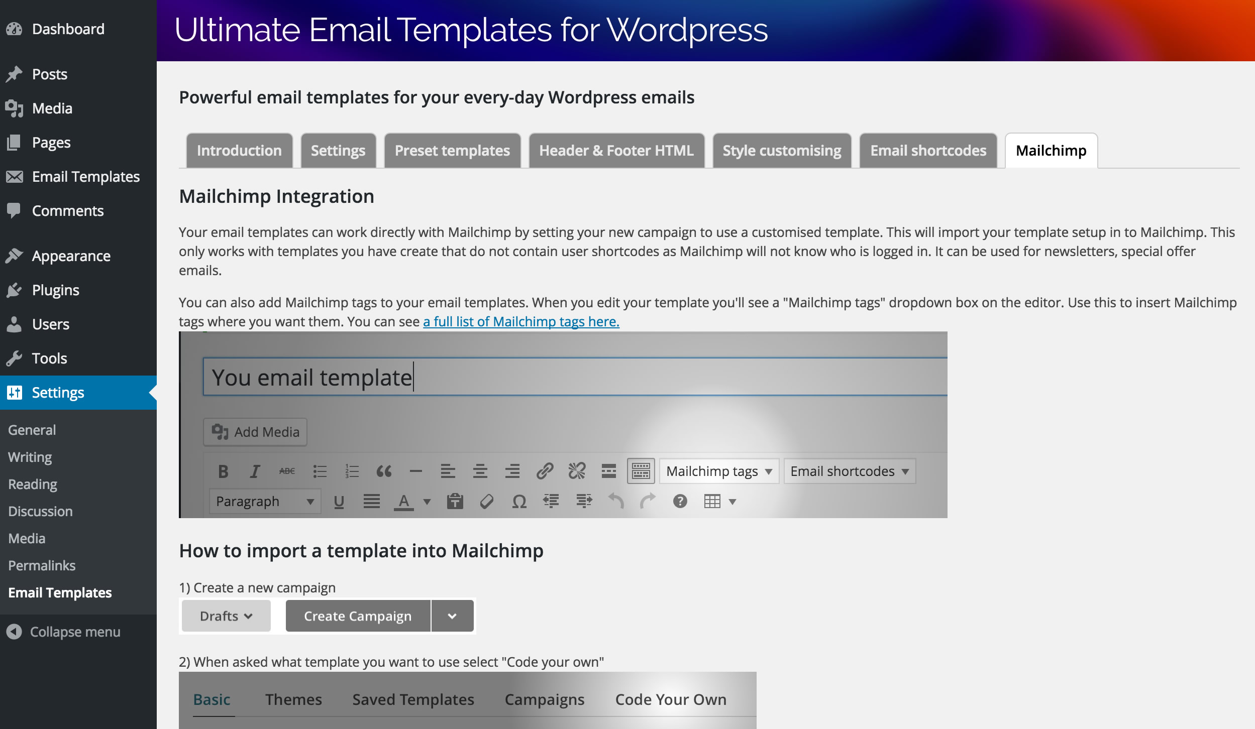 Ultimate Email Template System for Wordpress - WPMeta