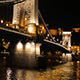 Chain Bridge view at night in Budapest