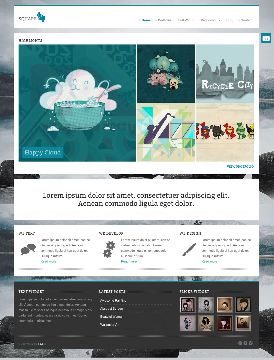 square - Agency and Freelancer Portfoflio Theme - this is the portfolio page. on this page all your projects will be shown. in the navigation (categories) above the projects you can filter the projects.