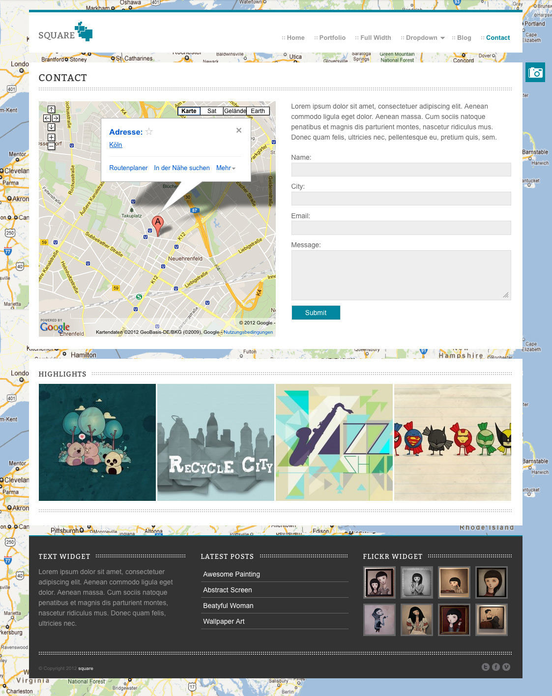 square - Agency and Freelancer Portfoflio Theme - this is the contact page. here you have an contact formulae and the cool and easy google maps include.