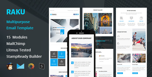 RAKU - Multipurpose Responsive Email Template + Stampready Builder