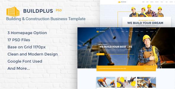 BuildPlus - Building & Construction Business PSD Template