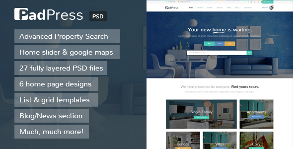 PadPress – Real Estate PSD Theme (Business) Download