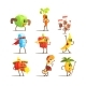 Healthy Food Cartoon Characters Set