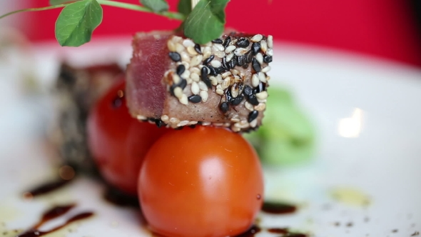 Download Tuna With Cherry Tomatoes On a Skewer With Sesame Seeds. Cold Appetizer nulled download