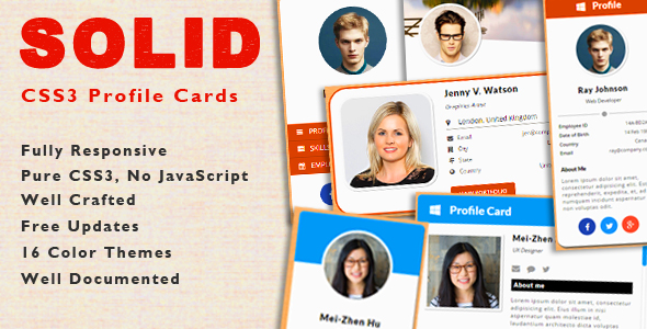SOLID - CSS3 Responsive Profile Cards - CodeCanyon Item for Sale