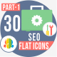 30 Seo & Web Development Flat Icons 1
