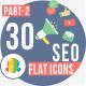 30 Seo & Web Development Flat Icons 2