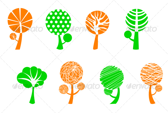 Tree symbols - Decorative Vectors