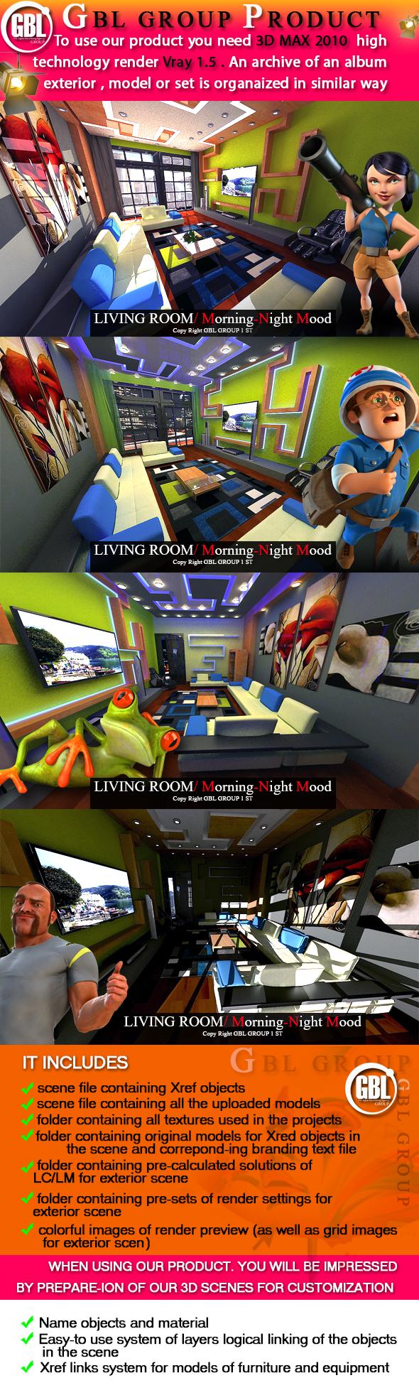 Living room / Morning-Night Mood - 3DOcean Item for Sale
