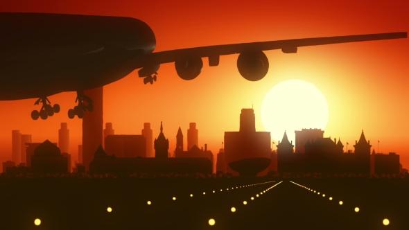 Albany New York Lentokone Skyline Sunrise Landing - Corporate Taustat Motion Graphics