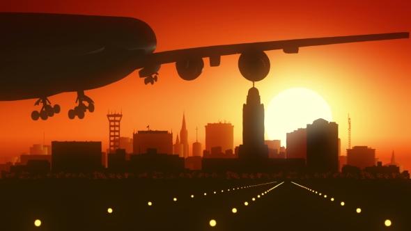Lincoln Nebraska Lentokone Skyline Sunrise Landing - Corporate Taustat Motion Graphics