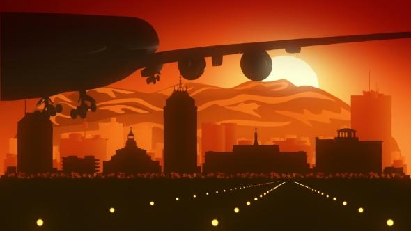 Fresno California Lentokone Skyline Sunrise Landing - Corporate Taustat Motion Graphics