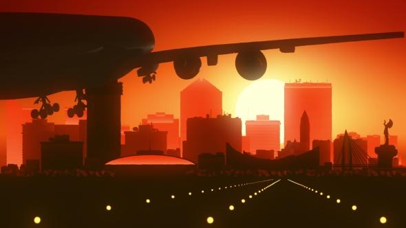 Wichita Kansas Lentokone Skyline Sunrise Landing - Corporate Taustat Motion Graphics