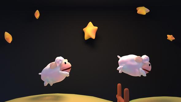 Cartoon Sheep hyppää yli aidan - 3D, Object Elements Motion Graphics