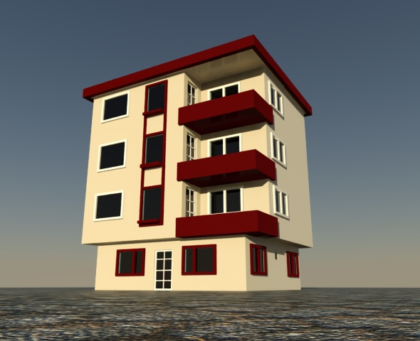 Low Poly Apartment Building - 3DOcean Item for Sale