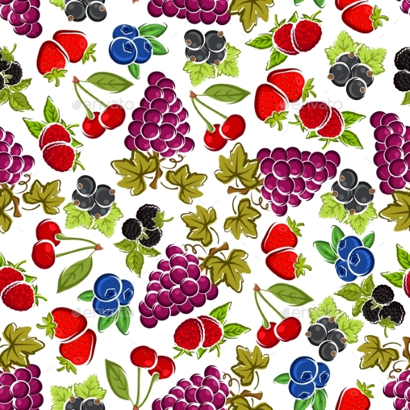 Sweet Fruits and Berries Seamless Pattern