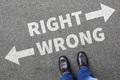 Right wrong business man concept businessman goals success solution decision decide