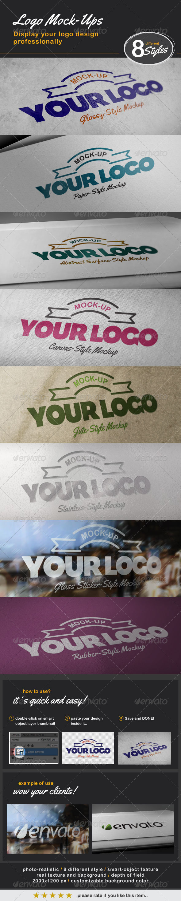 8 Photo-Realistic Logo Mock-ups - Logo Product Mock-Ups