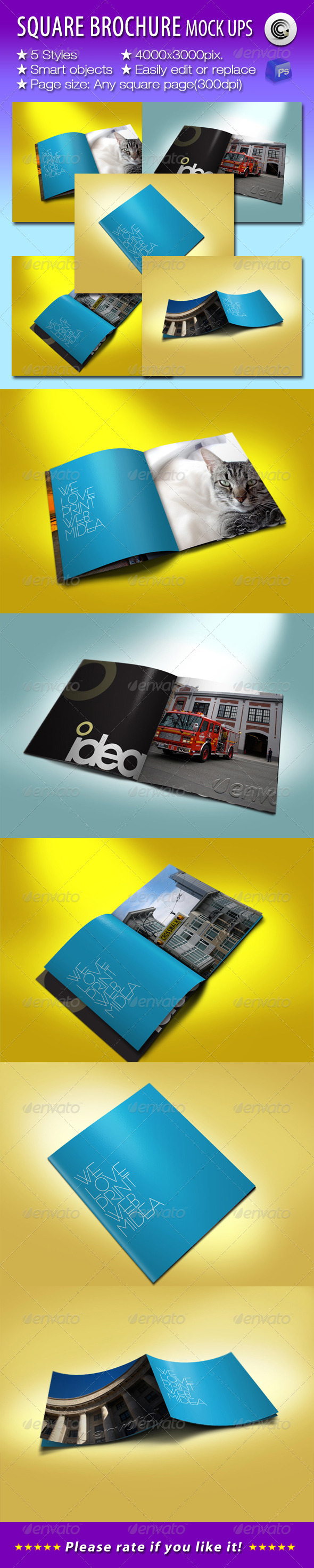 GraphicRiver Square Brochures Preview Mock-ups 808105