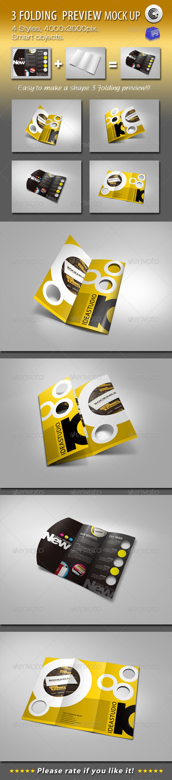 GraphicRiver Shape 3 Folding Preview Mock-ups 760083