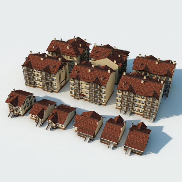 Low Poly Set  Buildings - 3DOcean Item for Sale