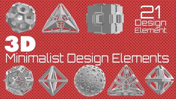 3D Minimalistinen sisustuselementtejä Pack - 3D, Object Elements Motion Graphics