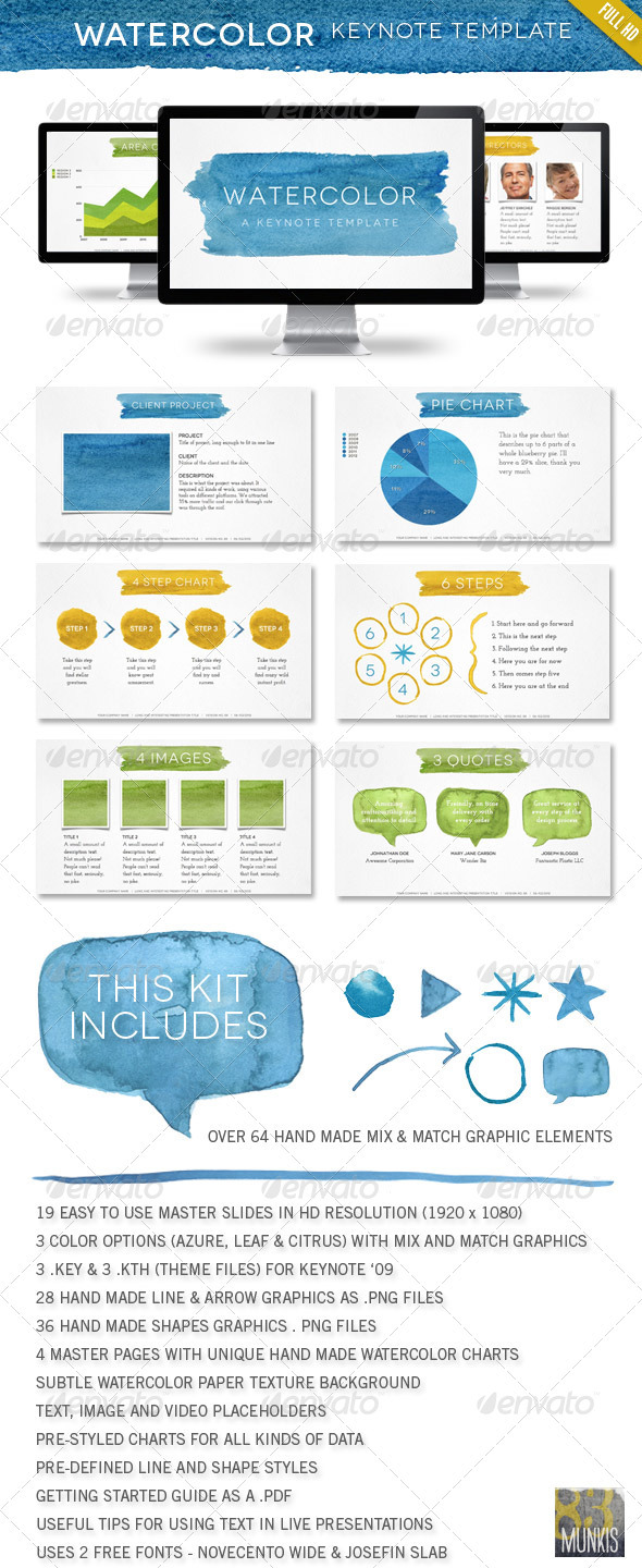 Watercolor Keynote Template - Keynote Templates Presentation Templates