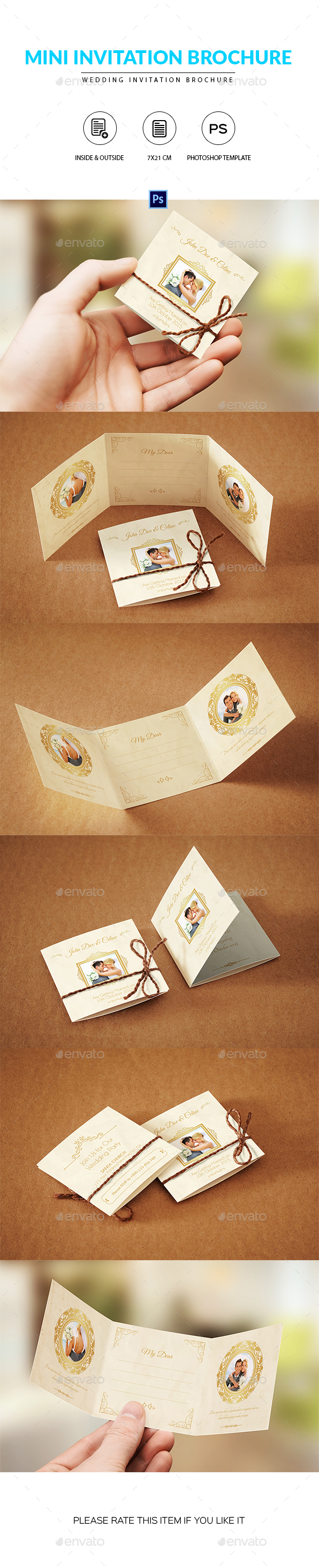 Wedding Mini Trifold Invitation Brochure