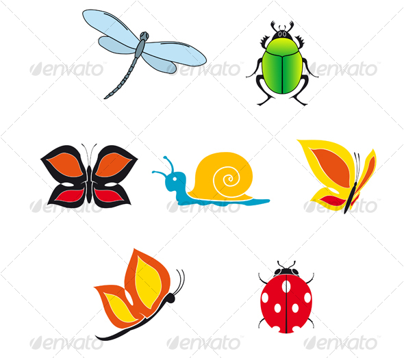 Set of insect icons - Animals Characters