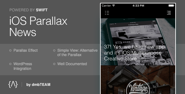 iOS Parallax News - CodeCanyon Item for Sale